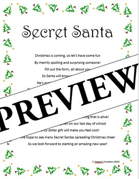 Secret Santa Poem & Questionnaire