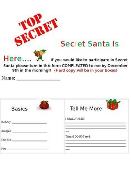 Secret Santa Questionnaire Worksheets Teaching Resources Tpt