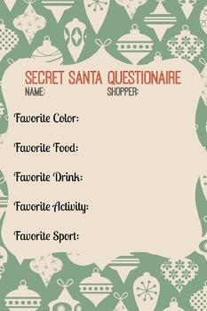 Secret Santa Questionaire