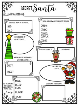 picture about Secret Santa Questionnaire Printable identified as Mystery Santa Questionnaire Worksheets Training Supplies TpT