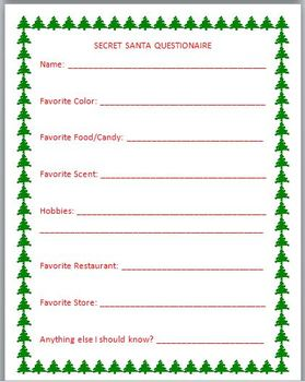 Secret Santa Questionnaire FREEBIE! A MUST HAVE if you participate!