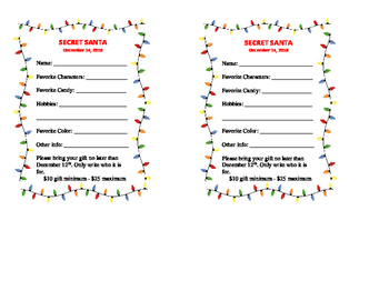 Secret Santa Student Questionnaire