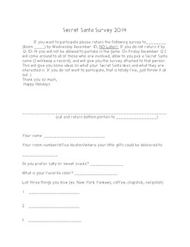 Secret Santa Survey for the staff at your school
