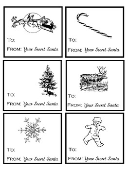photograph relating to Tags Printable named Top secret Santa Tags Printable-Totally free!