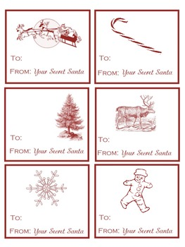 This is a graphic of Mesmerizing Secret Santa Tags Printable