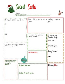 Secret Santa Worksheet