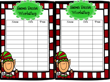 Secret Santa Workshop Student Sheet