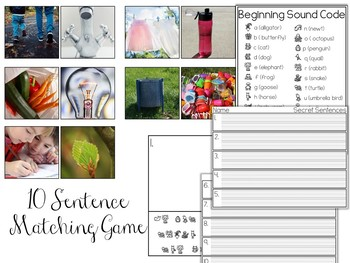 Earth Day Secret Sentences: A Writing Center Matching Game
