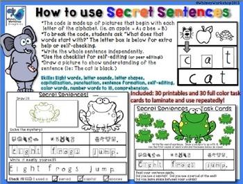 Secret Sentences **UK version** (60 pages) Whimsy Workshop Teaching