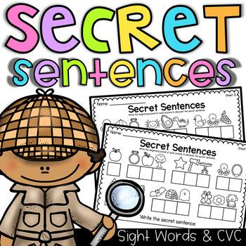 Secret Sentences Worksheets - CVC and Sight Words