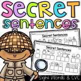 Secret Sentences Worksheets - CVC and Sight Words - Distan