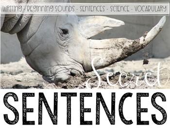 Zoo Animals Secret Sentences: A Writing Center Matching Game