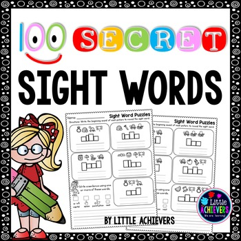 Sight Word Worksheets Kindergarten, First Grade - Secret Words