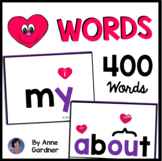 400 Sight Word Cards Coded with Hearts: Fry & Red Words {T