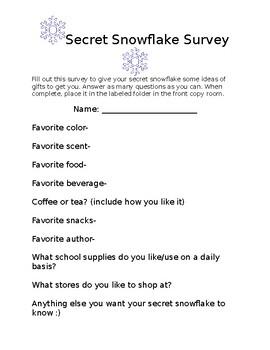 Secret Snowflake Survey + Sample Email