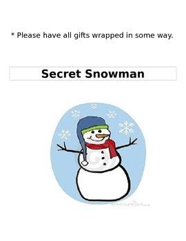 Secret Snowman Parent Letter