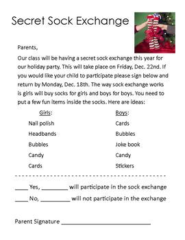 Secret Sock Exchange Parent Note