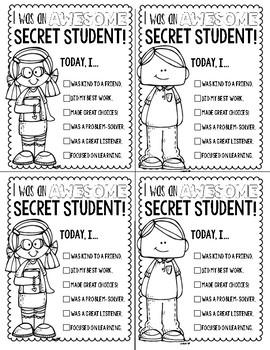 Secret Student: Positive Parent Note FREEBIE