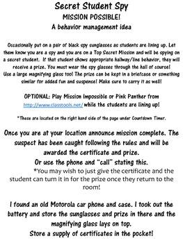 Secret Student Spy! A Behavior Management Idea