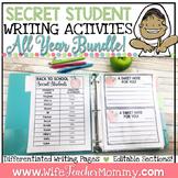 Secret Student Writing Activities Full Year Bundle, Prompt