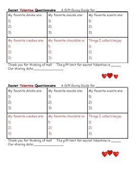 Secret Valentine Questionaire for Gift Giving From Students Cards or Presents