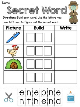 Secret Word Literacy Stations (21 CVC Word Families Word Work Activities)