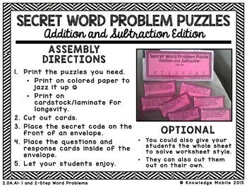 Secret Word Problem Puzzles