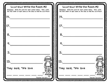 Secret Word Write the Room for Summer