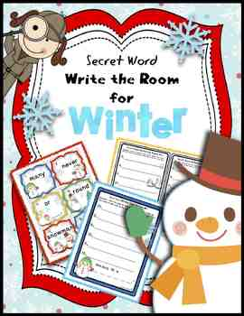 Write the Room Kindergarten | Write the Room First Grade Secret Words Winter