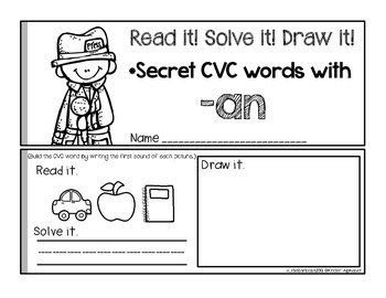"""Secret Words Booklets { CVC with """"a"""" }"""