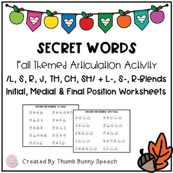 Secret Words - Fall Themed Articulation Activity