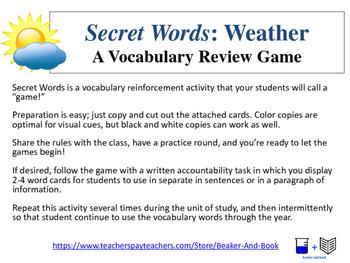 Secret Words for Science: Weather Words