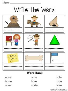 Secret Words & More Long O CVCe Words Packet