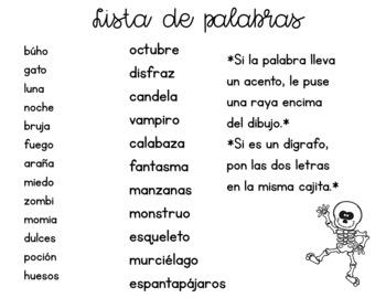Secret Words in Spanish *October Edition*