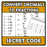 Secret code -Código secreto- Convert decimals to fractions