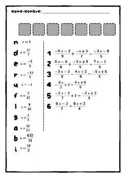 Secret code - Código secreto - Linear equations - Ecuaciones lineales