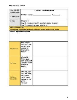 Secret in the Attic #2: Peril at the Pyramids - Level M Guided Reading Plan