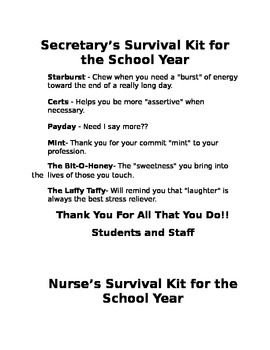 Secretary and Nurses survival kit
