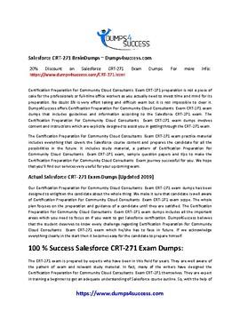 Secrets For Passing Salesforce CRT-271 Exam [2019]