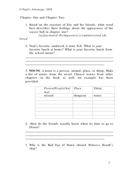 Secrets of Droon The Mysterious Island Novel Study and Worksheet