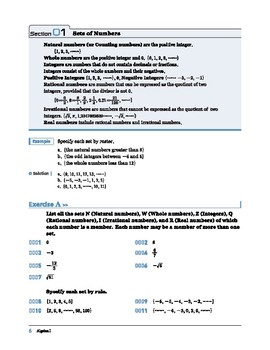 Algebra I: Section 1: Sets of Numbers