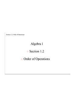 Section 1.2, Order of Operations