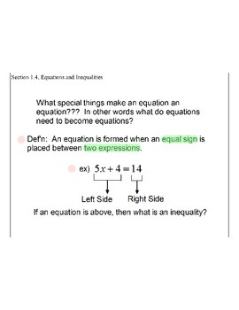 Section 1.4, Equations and Inequalities
