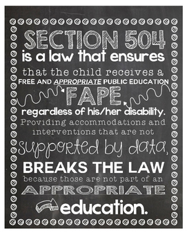 Section 504 FAPE Quote Chalkboard Printable Poster Free Appropriate Education