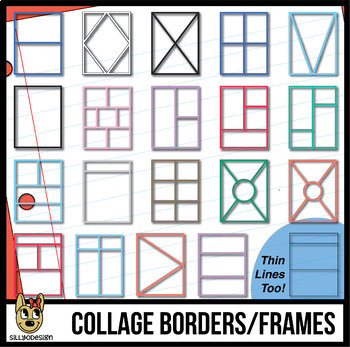 Sectional Collage Borders & Frames, Thick Lines & Thin Black Lines