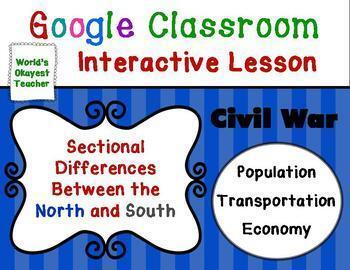 Sectional Differences North v. South: Google Classroom Interactive Lesson