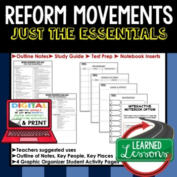 Reform Movements, 1820-1860 Outline Notes JUST THE ESSENTIALS