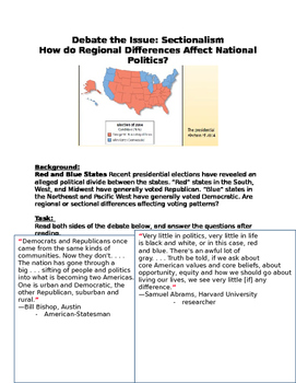 Sectionalism- Debate: How do Regional Differences Affect National Politics?