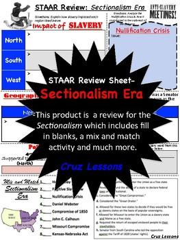 Sectionalism Era, STAAR Review Sheet