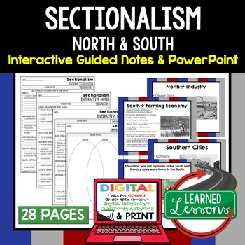 Sectionalism Interactive Guided Notes and PowerPoints American History
